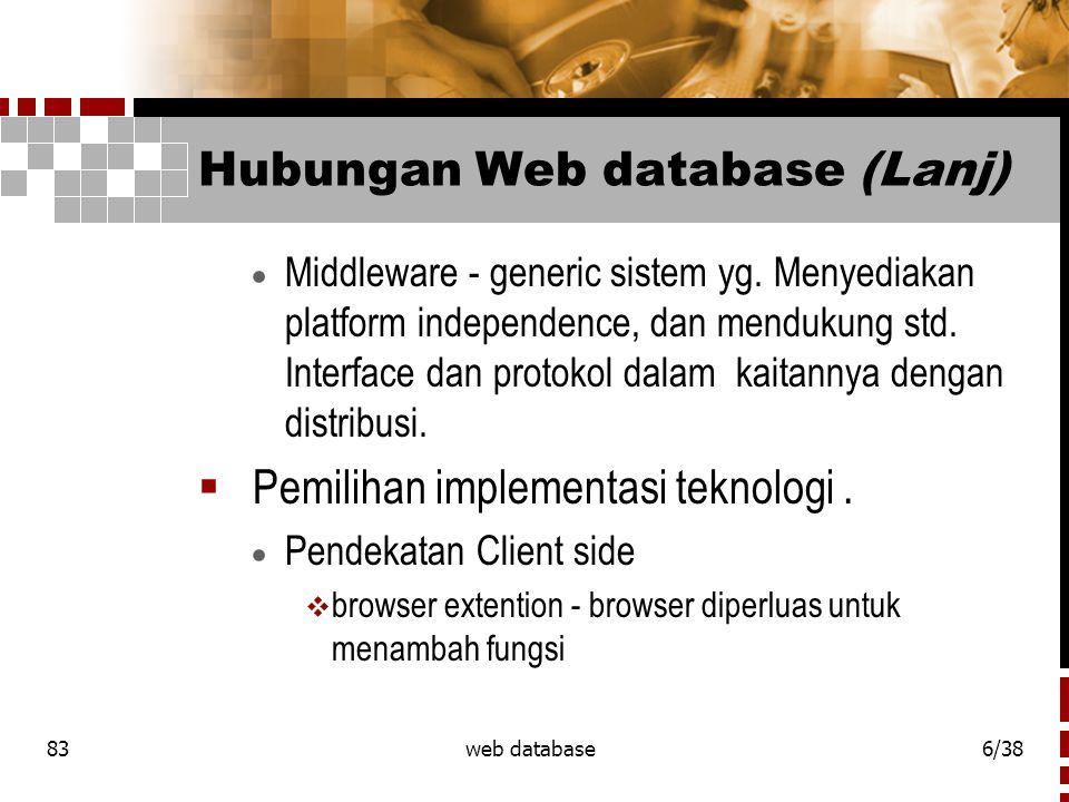 83web database7/38 Hubungan Web database (Lanj)  External aplikasi - serupa denan penggunaan server sebagai gateway untuk mengeksekusi sistem lain.
