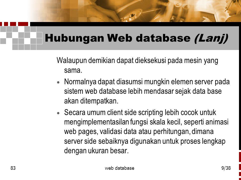 83web database10/38 Hubungan Web database (Lanj)  Keuntungan dari sisi client.