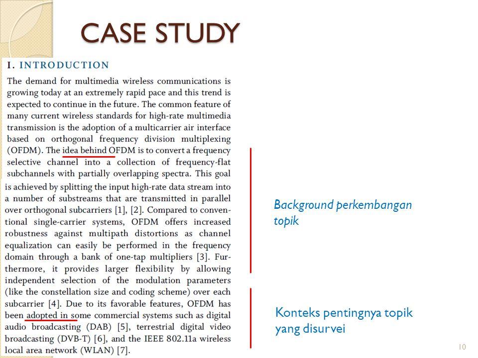 CASE STUDY Background perkembangan topik Konteks pentingnya topik yang disurvei 10