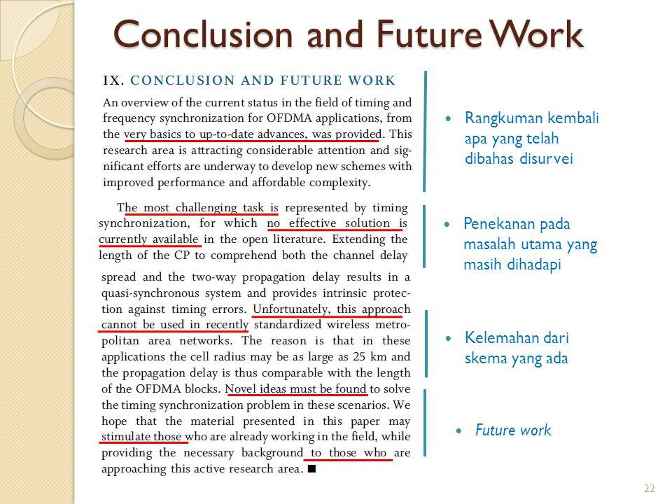 Conclusion and Future Work Rangkuman kembali apa yang telah dibahas disurvei Penekanan pada masalah utama yang masih dihadapi Kelemahan dari skema yan