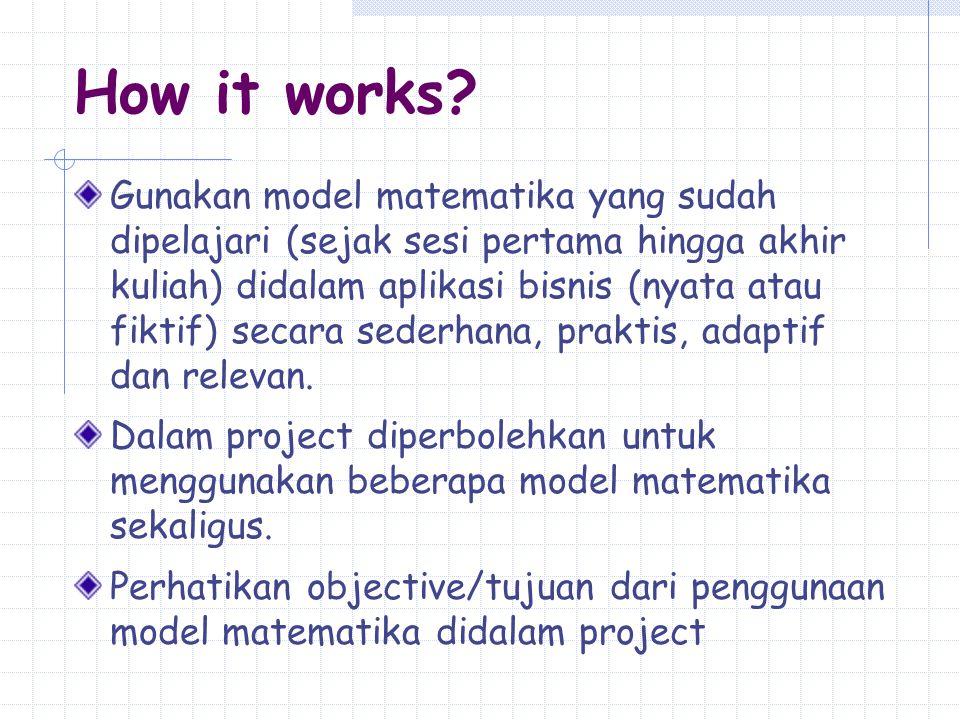 How it works? Gunakan model matematika yang sudah dipelajari (sejak sesi pertama hingga akhir kuliah) didalam aplikasi bisnis (nyata atau fiktif) seca