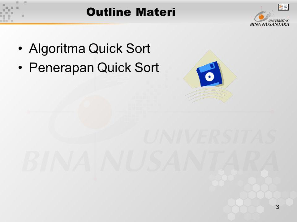 3 Outline Materi Algoritma Quick Sort Penerapan Quick Sort
