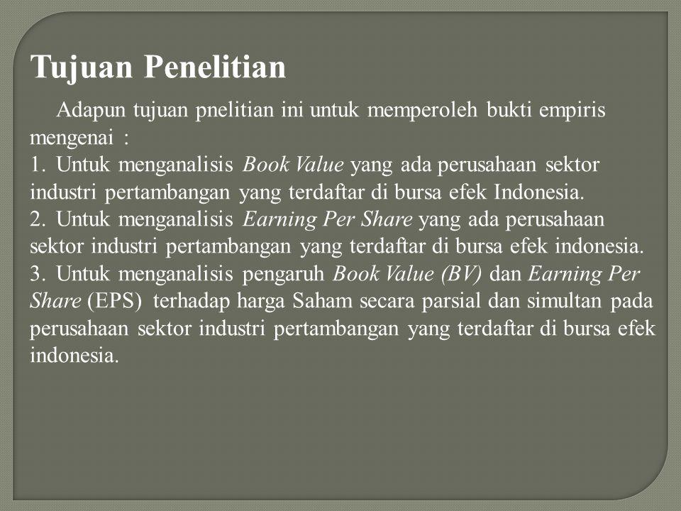 Tujuan Penelitian Adapun tujuan pnelitian ini untuk memperoleh bukti empiris mengenai : 1.Untuk menganalisis Book Value yang ada perusahaan sektor ind