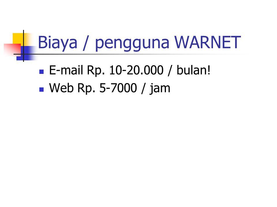 Biaya / pengguna WARNET E-mail Rp. 10-20.000 / bulan! Web Rp. 5-7000 / jam