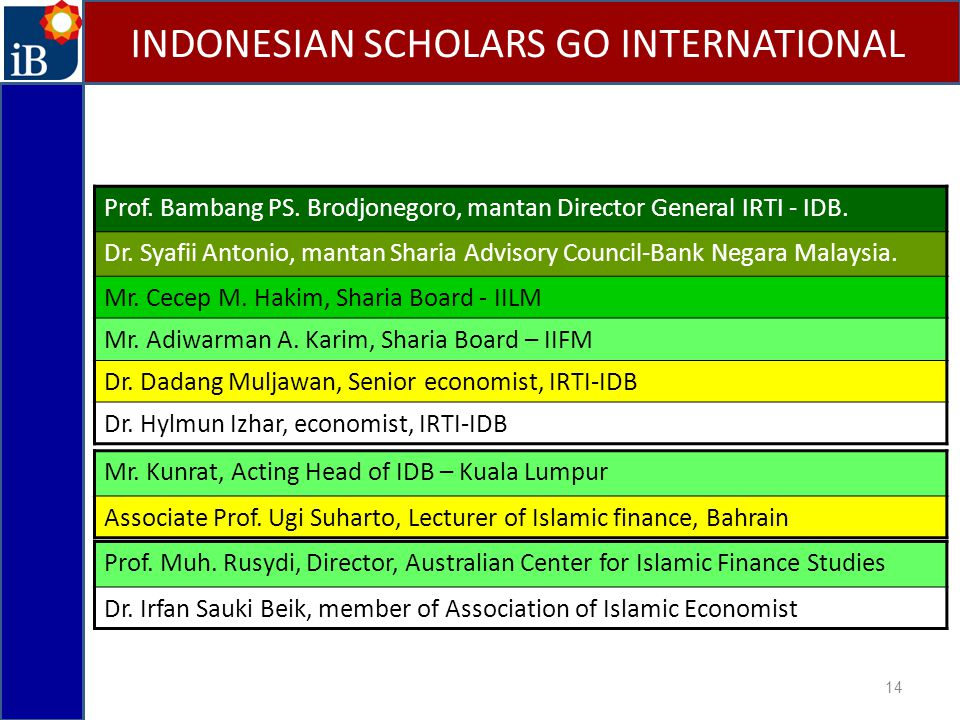 14 INDONESIAN SCHOLARS GO INTERNATIONAL Prof. Bambang PS. Brodjonegoro, mantan Director General IRTI - IDB. Dr. Syafii Antonio, mantan Sharia Advisory