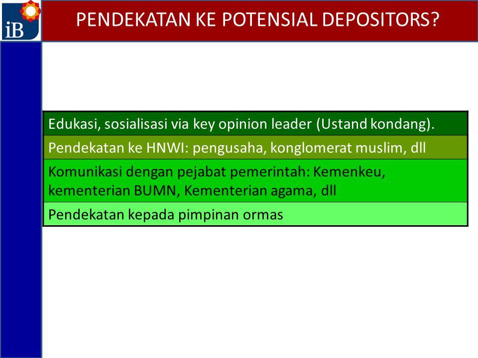 PENDEKATAN KE POTENSIAL DEPOSITORS? Edukasi, sosialisasi via key opinion leader (Ustand kondang). Pendekatan ke HNWI: pengusaha, konglomerat muslim, d