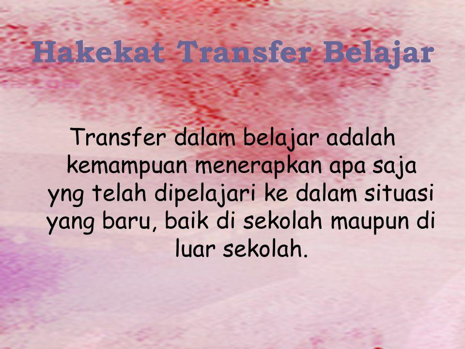 Hakekat Transfer Belajar Transfer dalam belajar adalah kemampuan menerapkan apa saja yng telah dipelajari ke dalam situasi yang baru, baik di sekolah maupun di luar sekolah.