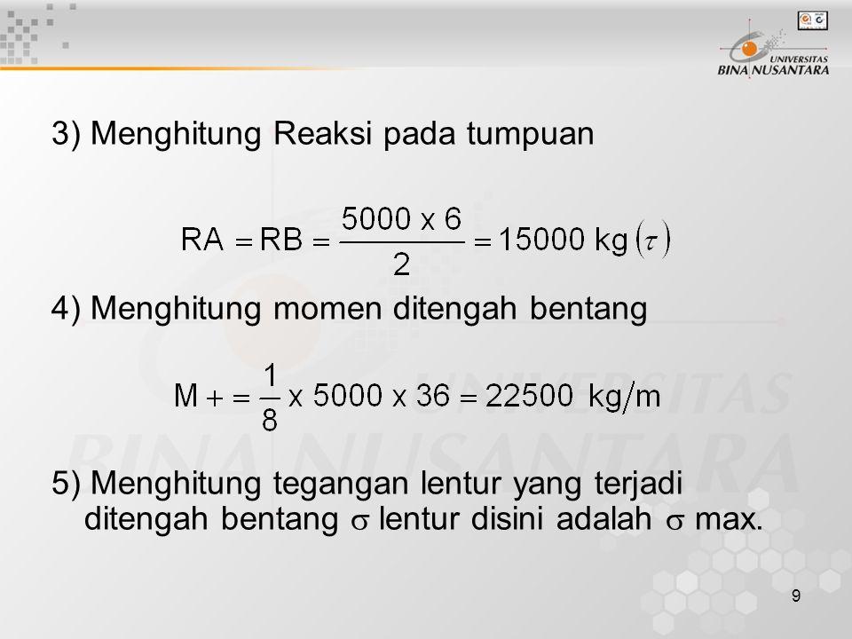 9 3) Menghitung Reaksi pada tumpuan 4) Menghitung momen ditengah bentang 5) Menghitung tegangan lentur yang terjadi ditengah bentang  lentur disini a