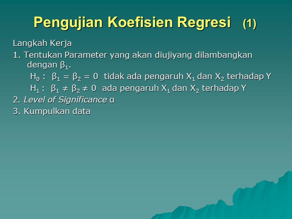 Pengujian Koefisien Regresi (1) Langkah Kerja 1. Tentukan Parameter yang akan diujiyang dilambangkan dengan β 1. H 0 : β 1 = β 2 = 0 tidak ada pengaru