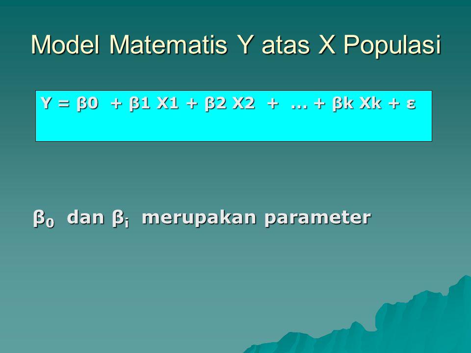 Model Matematis Y atas X Populasi Y = β0 + β1 X1 + β2 X2 +... + βk Xk + ε β 0 dan β i merupakan parameter