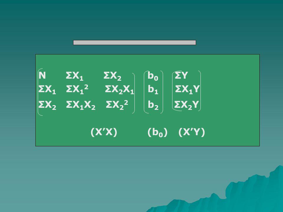 N ΣX 1 ΣX 2 b 0 ΣY ΣX 1 ΣX 1 2 ΣX 2 X 1 b 1 ΣX 1 Y ΣX 2 ΣX 1 X 2 ΣX 2 2 b 2 ΣX 2 Y (X'X) (b 0 ) (X'Y)