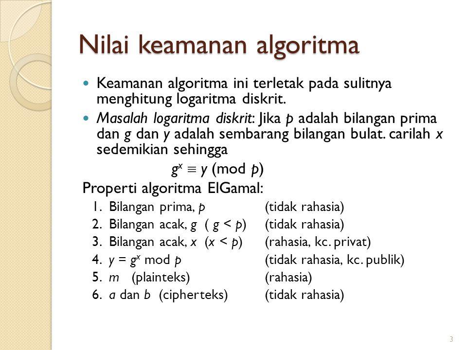Nilai keamanan algoritma Keamanan algoritma ini terletak pada sulitnya menghitung logaritma diskrit. Masalah logaritma diskrit: Jika p adalah bilangan