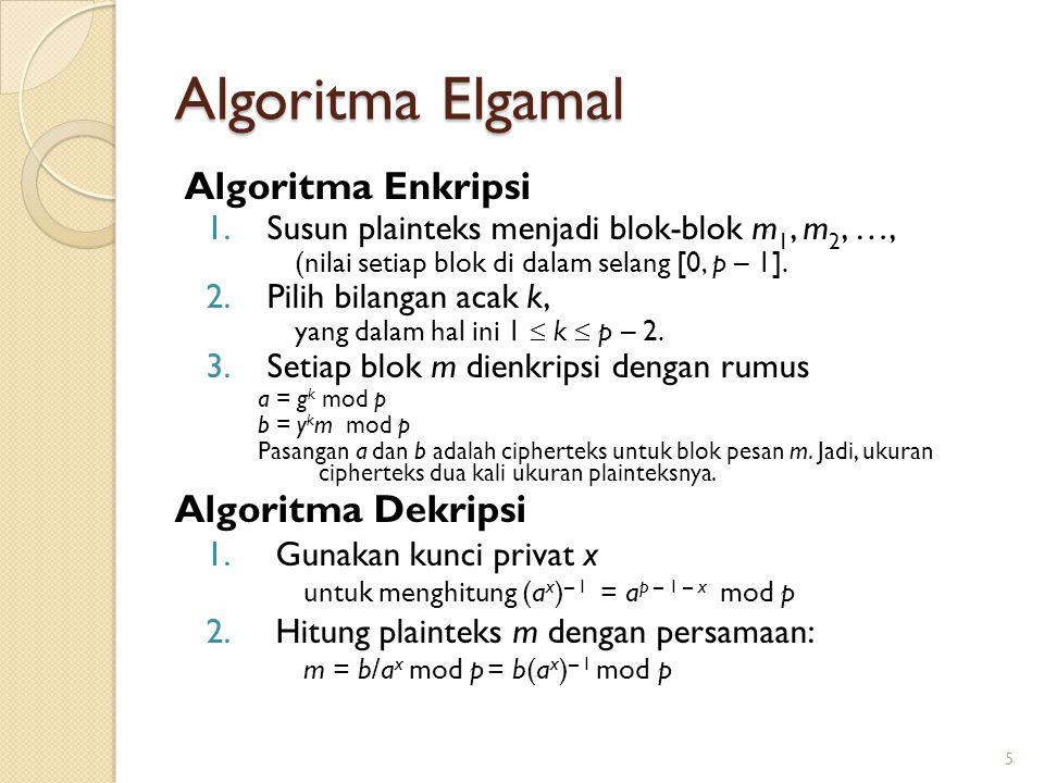 Algoritma Elgamal Algoritma Enkripsi 1.Susun plainteks menjadi blok-blok m 1, m 2, …, (nilai setiap blok di dalam selang [0, p – 1]. 2.Pilih bilangan