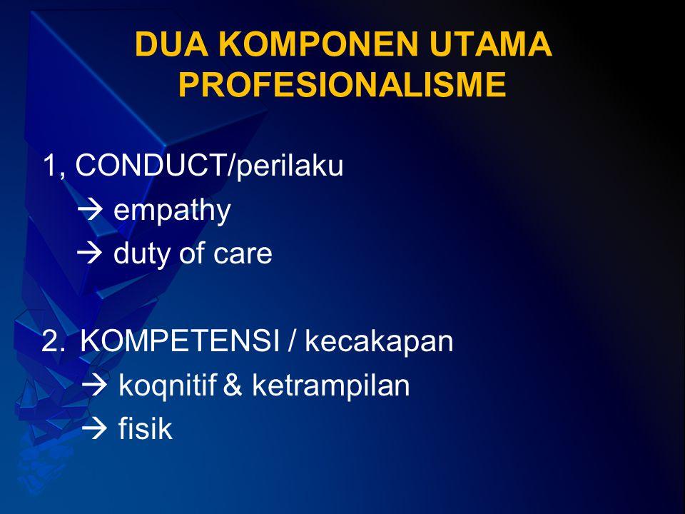 DUA KOMPONEN UTAMA PROFESIONALISME 1, CONDUCT/perilaku  empathy  duty of care 2.KOMPETENSI / kecakapan  koqnitif & ketrampilan  fisik