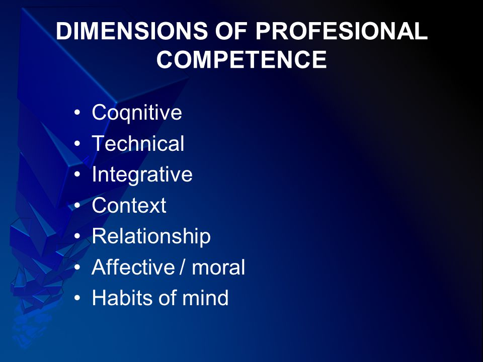 DIMENSIONS OF PROFESIONAL COMPETENCE Coqnitive Technical Integrative Context Relationship Affective / moral Habits of mind