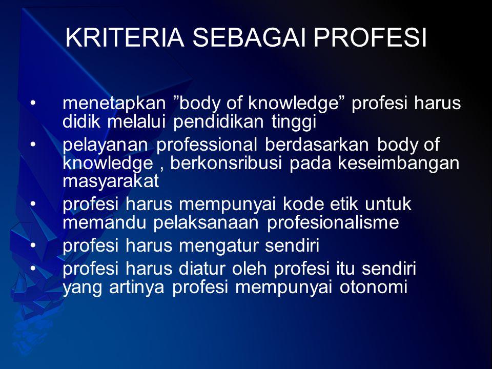 Ciri-ciri Profesional Pengetahuan teknik khusus Nilai pedoman perilaku-kode etik Sifat altruistik (mengutamakan kepentingan orang lain tanpa memajukan interes pribadi) Memiliki otonomi Menjadi anggota profesi yg mencerminkan identitas profesi Memiliki dasar intelektual yg luas Mempunyai pengakuan sah menurut hukum