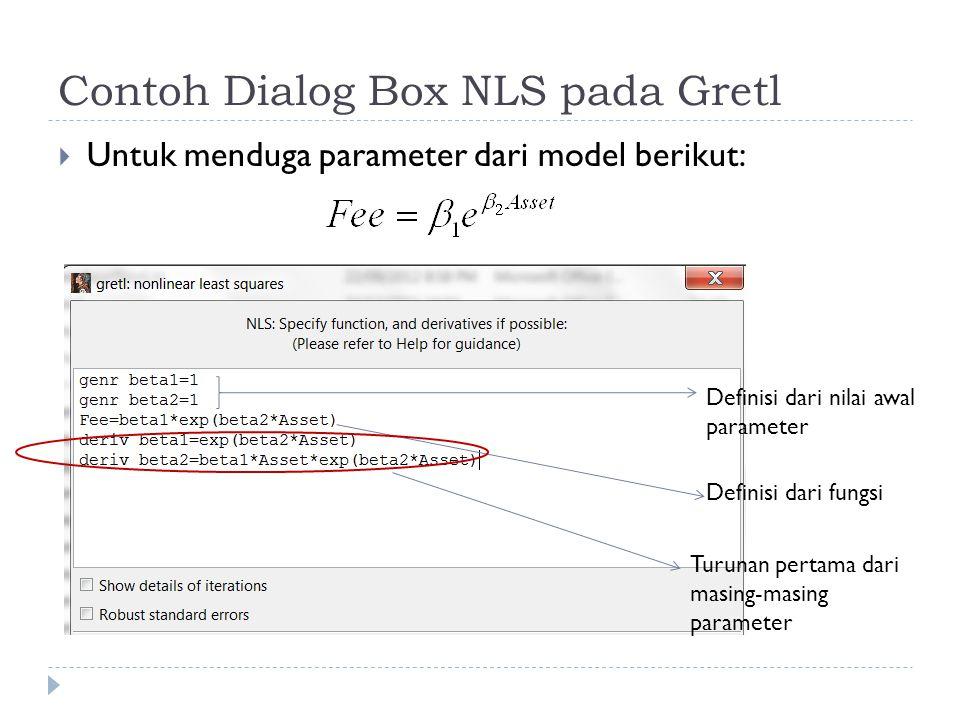 Contoh Dialog Box NLS pada Gretl  Untuk menduga parameter dari model berikut: Definisi dari nilai awal parameter Definisi dari fungsi Turunan pertama