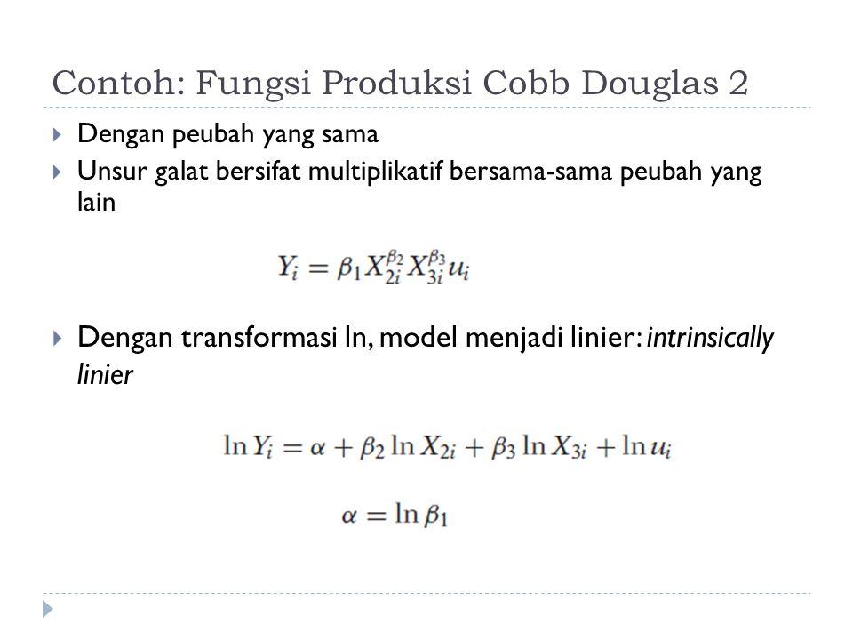 Contoh: Fungsi Produksi Cobb Douglas 2  Dengan peubah yang sama  Unsur galat bersifat multiplikatif bersama-sama peubah yang lain  Dengan transform