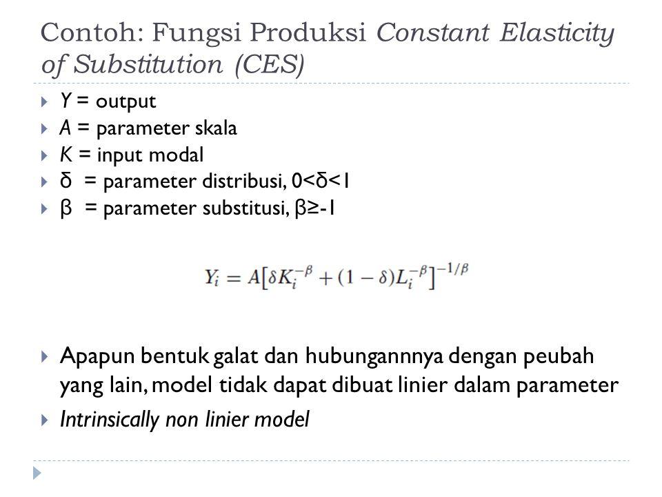 Pendugaan Parameter Model Non Linier  Tetap dengan prinsip meminimumkan jumlah kuadrat galat  Masalah: tidak dapat diperoleh solusi secara analitik untuk persamaan normal  Solusi diperoleh secara iteratif dengan menggunakan metode numerik  Steepest descent  Newton Rhapson
