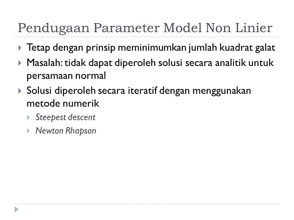 Pendugaan Parameter Model Non Linier  Tetap dengan prinsip meminimumkan jumlah kuadrat galat  Masalah: tidak dapat diperoleh solusi secara analitik