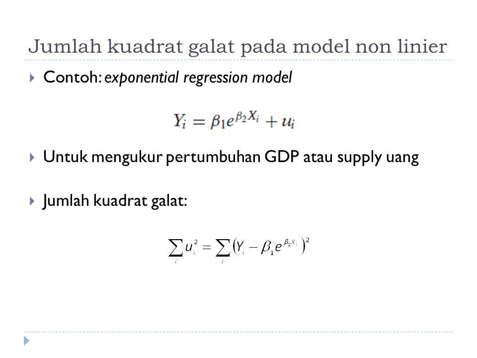 Pendugaan Parameter dengan fungsi Non Linier Least Square  Pada eviews atau Gretl terdapat dialog box untuk mengetikkan perintah Non Linier Least Square (NLS)  Dibutuhkan definisi nilai awal parameter yang digunakan  Definisi fungsi  Turunan pertama dari masing-masing parameter