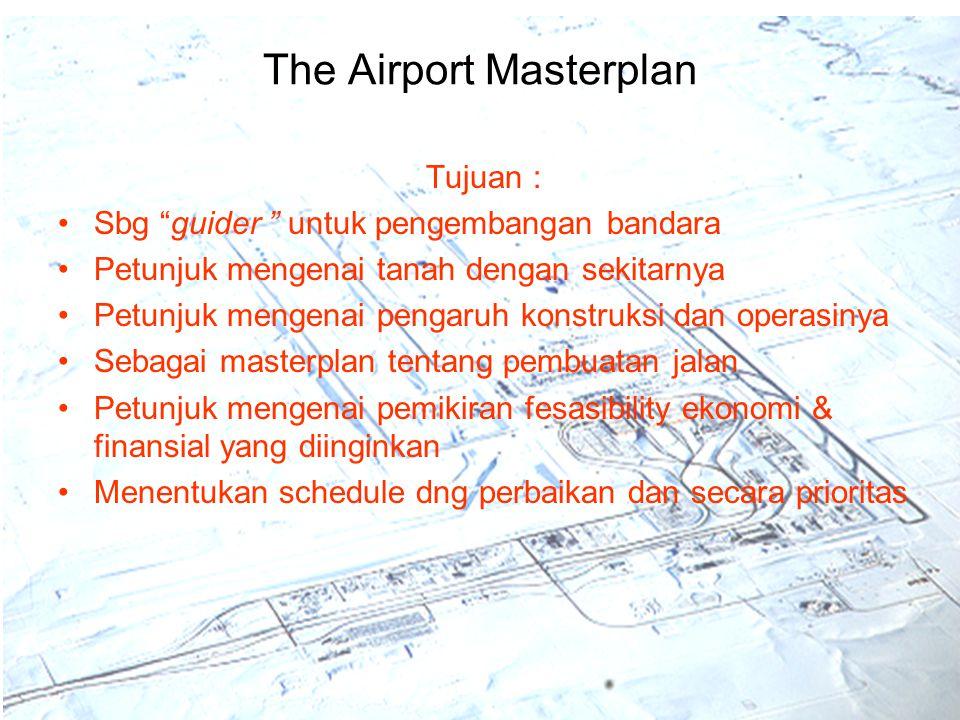 """The Airport Masterplan Tujuan : Sbg """"guider """" untuk pengembangan bandara Petunjuk mengenai tanah dengan sekitarnya Petunjuk mengenai pengaruh konstruk"""