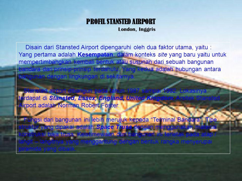 PROFIL STANSTED AIRPORT London, Inggris Disain dari Stansted Airport dipengaruhi oleh dua faktor utama, yaitu : Yang pertama adalah Kesempatan, dalam