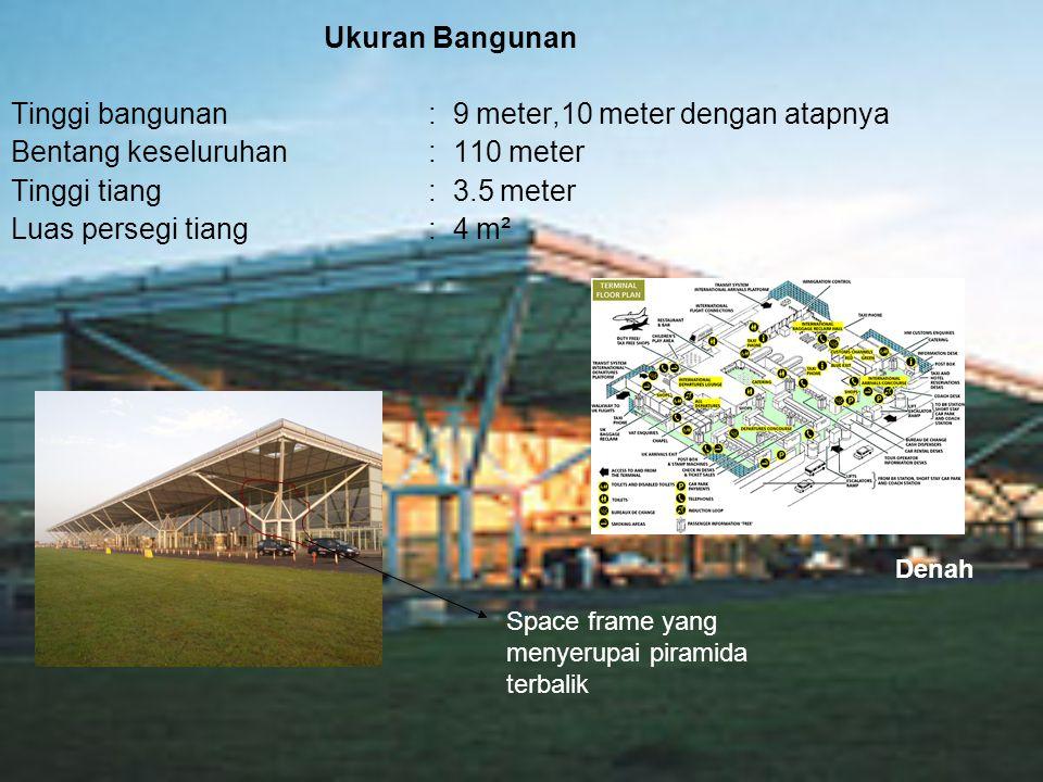 Ukuran Bangunan Tinggi bangunan : 9 meter,10 meter dengan atapnya Bentang keseluruhan: 110 meter Tinggi tiang : 3.5 meter Luas persegi tiang: 4 m² Spa