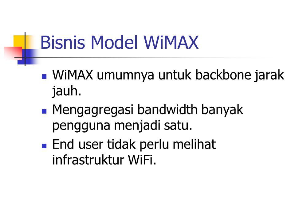 Bisnis Model WiMAX WiMAX umumnya untuk backbone jarak jauh. Mengagregasi bandwidth banyak pengguna menjadi satu. End user tidak perlu melihat infrastr