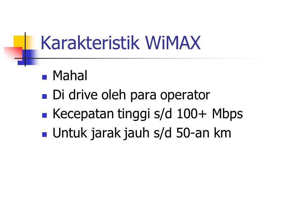 Karakteristik WiMAX Mahal Di drive oleh para operator Kecepatan tinggi s/d 100+ Mbps Untuk jarak jauh s/d 50-an km
