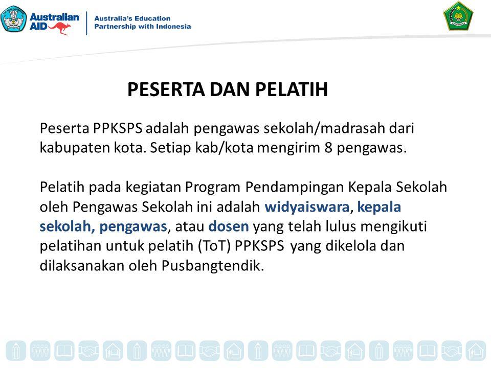 PESERTA DAN PELATIH Peserta PPKSPS adalah pengawas sekolah/madrasah dari kabupaten kota. Setiap kab/kota mengirim 8 pengawas. Pelatih pada kegiatan Pr
