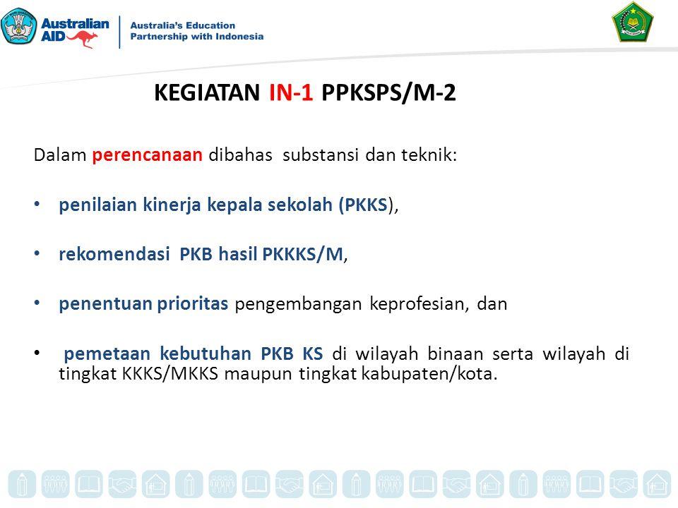 Dalam perencanaan dibahas substansi dan teknik: penilaian kinerja kepala sekolah (PKKS), rekomendasi PKB hasil PKKKS/M, penentuan prioritas pengembang