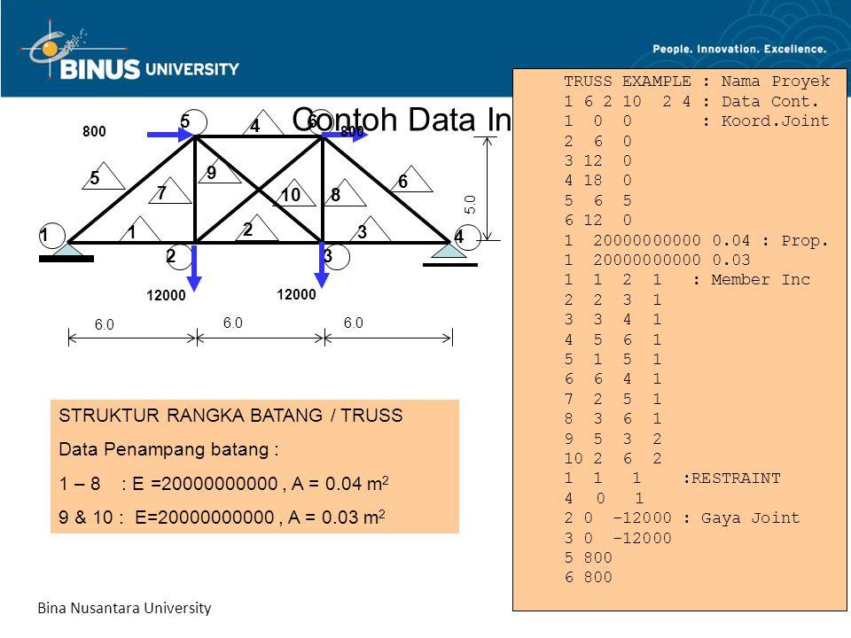 Contoh Data Input TRUSS EXAMPLE : Nama Proyek 1 6 2 10 2 4 : Data Cont. 1 0 0 : Koord.Joint 2 6 0 3 12 0 4 18 0 5 6 5 6 12 0 1 20000000000 0.04 : Prop