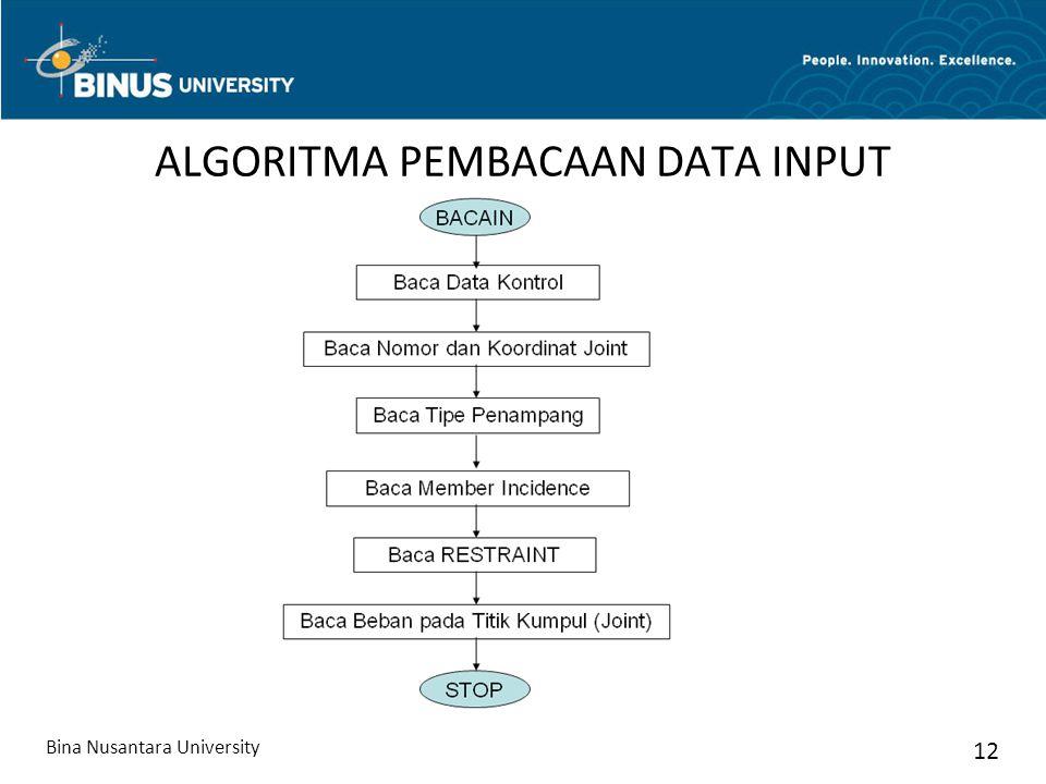 ALGORITMA PEMBACAAN DATA INPUT Bina Nusantara University 12