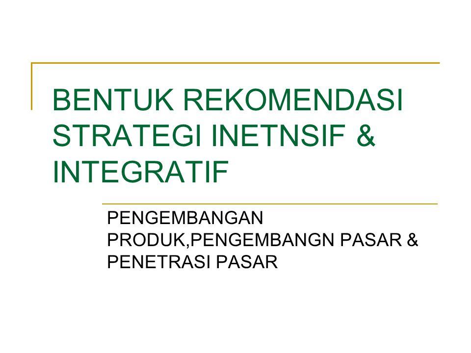 Hasil Penyesuaian Strategi StrategiPengembangan Produk Penetrasi Pasar SO: Meningkatkan standar mutu pelayanan Meningkatkan kerjasama dengan pemasok M