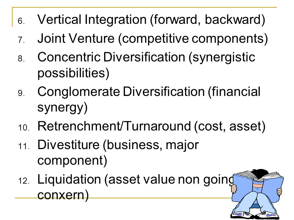 12 PRINCIPALS GRAND STRATEGIES 1. Concentrated Growth (product, market, technology) 2. Market Development (geographic, segments) 3. Product Developmen
