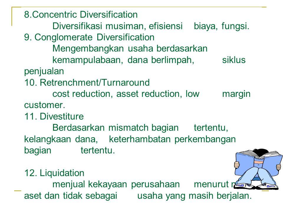 8.Concentric Diversification Diversifikasi musiman, efisiensi biaya, fungsi.