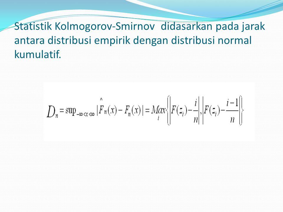 Statistik Kolmogorov-Smirnov didasarkan pada jarak antara distribusi empirik dengan distribusi normal kumulatif.