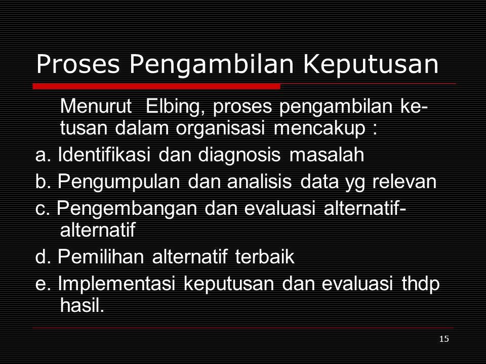 15 Proses Pengambilan Keputusan Menurut Elbing, proses pengambilan ke- tusan dalam organisasi mencakup : a. Identifikasi dan diagnosis masalah b. Peng