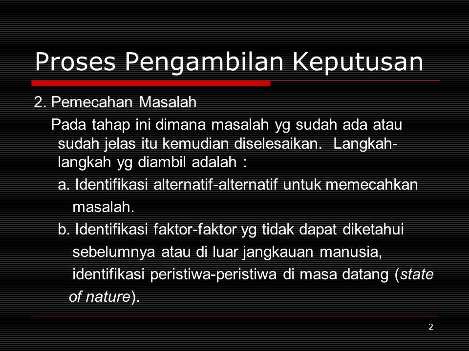 2 Proses Pengambilan Keputusan 2. Pemecahan Masalah Pada tahap ini dimana masalah yg sudah ada atau sudah jelas itu kemudian diselesaikan. Langkah- la