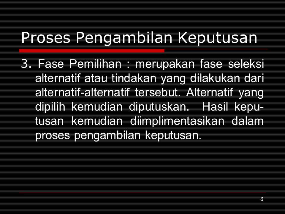 6 Proses Pengambilan Keputusan 3. Fase Pemilihan : merupakan fase seleksi alternatif atau tindakan yang dilakukan dari alternatif-alternatif tersebut.