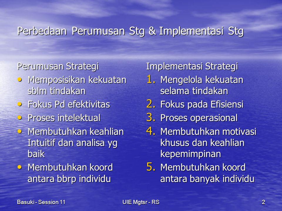 Basuki - Session 11UIE Mgtsr - RS3 KEBIJAKAN Kebijakan dibuat/diperlukan agar STRATEGI bekerja Kebijakan dibuat/diperlukan agar STRATEGI bekerja Kebijakan, menjembatani pemecahan masalah dan memandu implementasi strategi Kebijakan, menjembatani pemecahan masalah dan memandu implementasi strategi Kebijakan merupakan instrumen dari implementasi strategi Kebijakan merupakan instrumen dari implementasi strategi