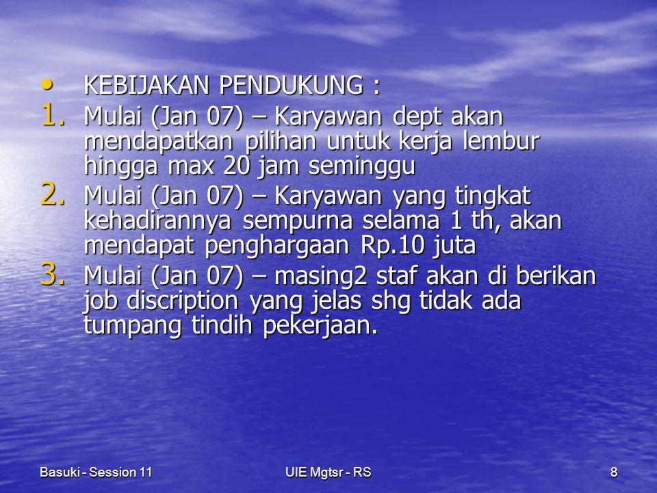 Basuki - Session 11UIE Mgtsr - RS8 KEBIJAKAN PENDUKUNG : KEBIJAKAN PENDUKUNG : 1.