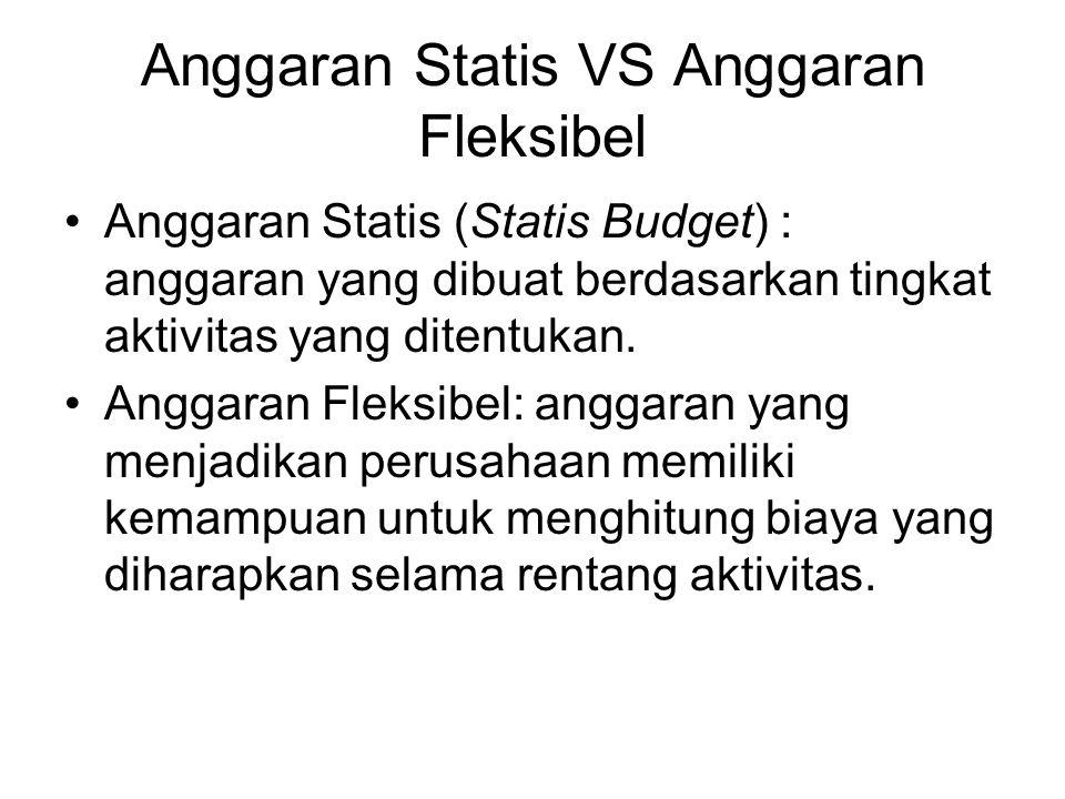 Anggaran Statis VS Anggaran Fleksibel Anggaran Statis (Statis Budget) : anggaran yang dibuat berdasarkan tingkat aktivitas yang ditentukan. Anggaran F