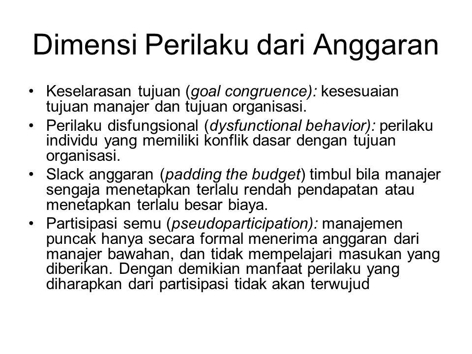 Dimensi Perilaku dari Anggaran Keselarasan tujuan (goal congruence): kesesuaian tujuan manajer dan tujuan organisasi. Perilaku disfungsional (dysfunct
