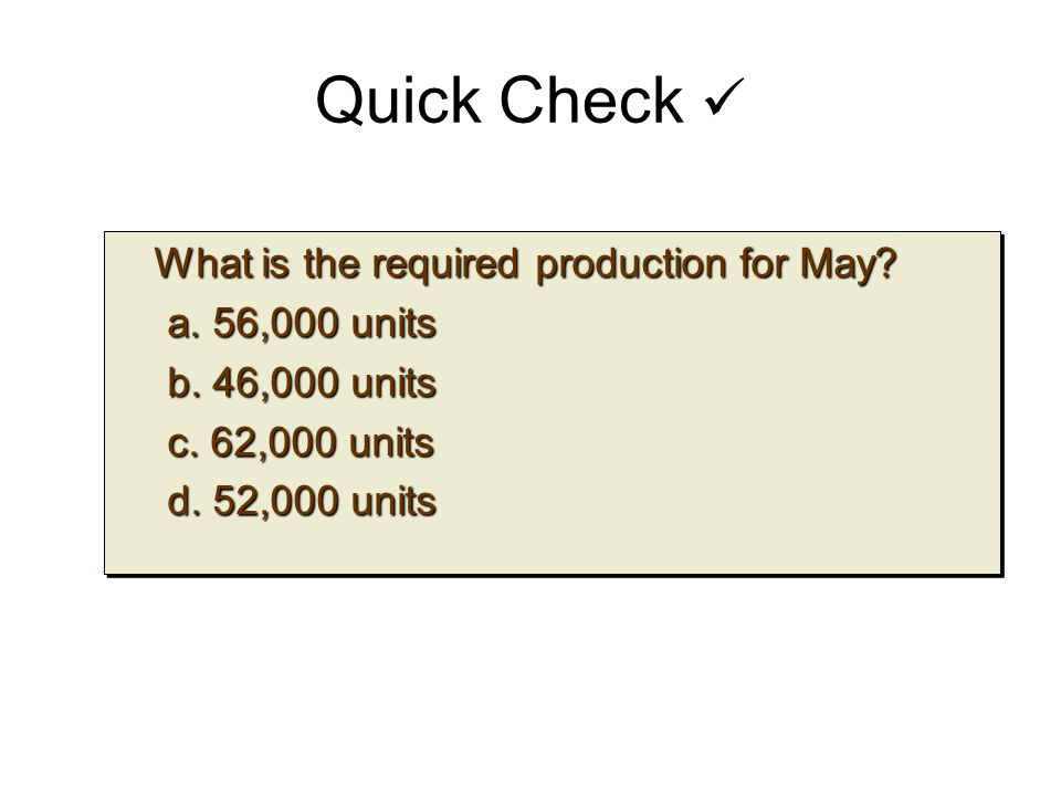 Quick Check What is the required production for May? What is the required production for May? a. 56,000 units b. 46,000 units c. 62,000 units d. 52,00
