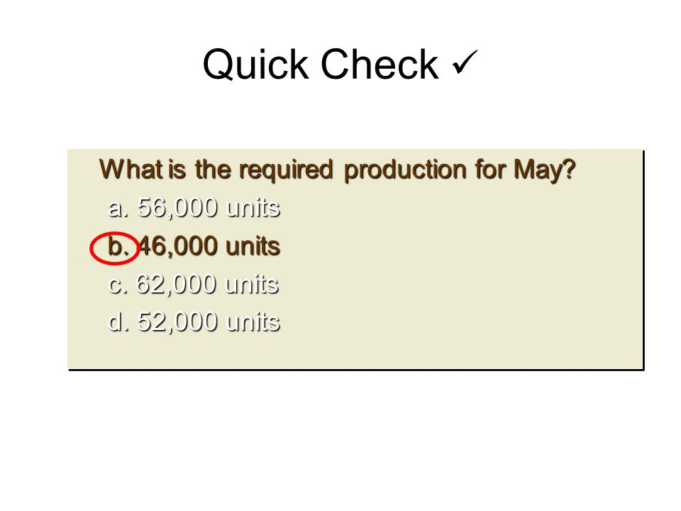 What is the required production for May? What is the required production for May? a. 56,000 units b. 46,000 units c. 62,000 units d. 52,000 units What