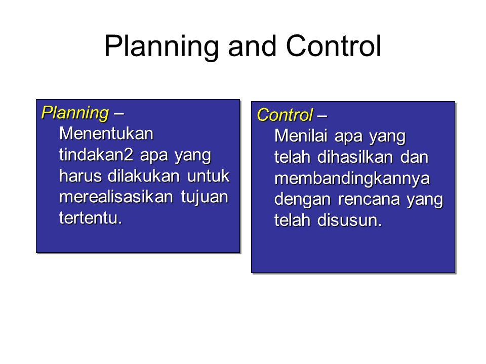 Planning and Control Planning – Menentukan tindakan2 apa yang harus dilakukan untuk merealisasikan tujuan tertentu. Control – Menilai apa yang telah d