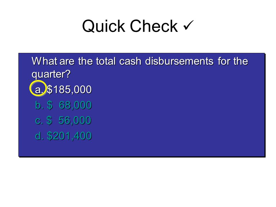 What are the total cash disbursements for the quarter? What are the total cash disbursements for the quarter? a. $185,000 b. $ 68,000 c. $ 56,000 d. $