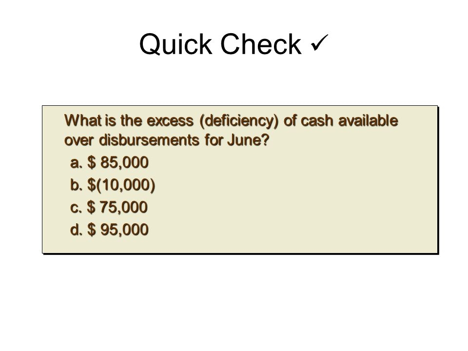 Quick Check What is the excess (deficiency) of cash available over disbursements for June? What is the excess (deficiency) of cash available over disb